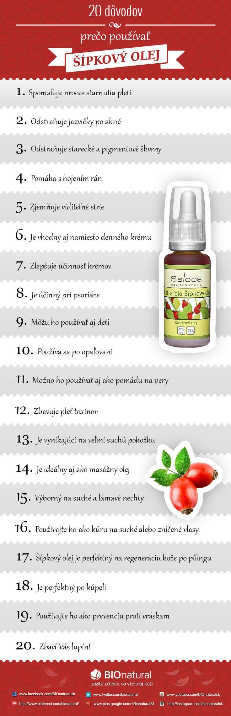 20 dôvodov, prečo používať šípkový olej http://www.bionatural.sk/a/20-dovodov-preco-pouzivat-sipkovy-olej-infografika