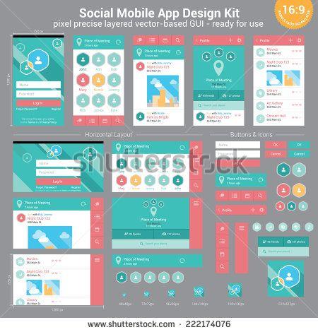 Social Mobile App Design Kit - pixel precise layered vector-based GUI - ready for use