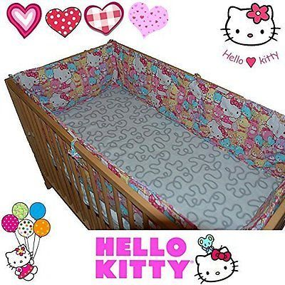#Hello kitty® bumper set for baby kids cot bed #bedding 100% cotton #trendy,  View more on the LINK: http://www.zeppy.io/product/gb/2/361403398752/