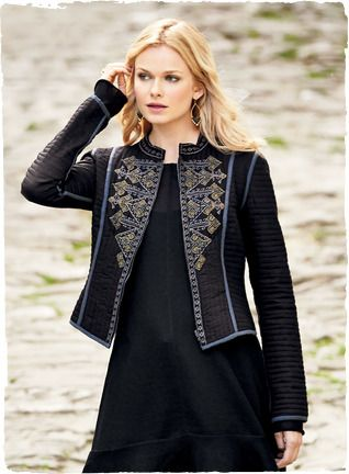 Medina Reversible Jacket | Stunning day or night, our quilted cotton jacket is embellished with metallic folkloric embroidery. The cropped, shapely silhouette reverses to a pewter floral block-print.