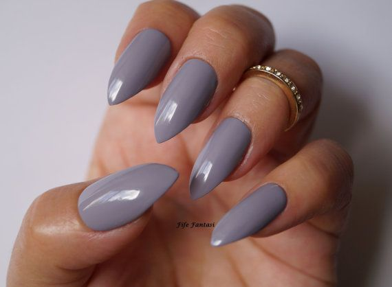 Grey stiletto nails Nail art Nail designs by FifeFantasiNails