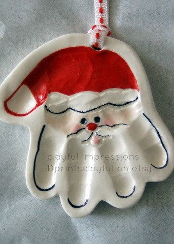 RESERVED Santa Handprint Ornament & Snowman  by TheBabyHandprintCo