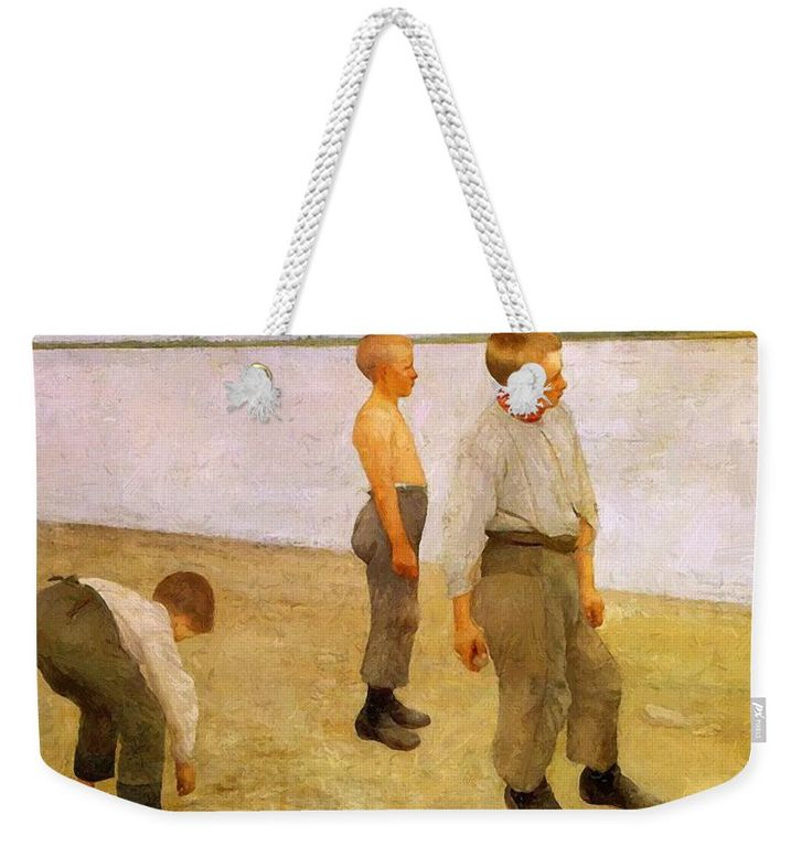 Boys Weekender Tote Bag featuring the painting Boys Throwing Pebbles Into The River 1890 by Ferenczy Karoly