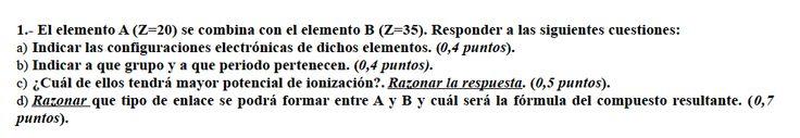 Ejercicio 1, propuesta 2, JUNIO (Reserva) 2002-2003. Examen PAU de Química de Canarias. Temas: estructura atómica.