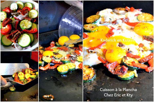 Cuisson plancha de légumes grillés et œufs au paprika chez Kaderick
