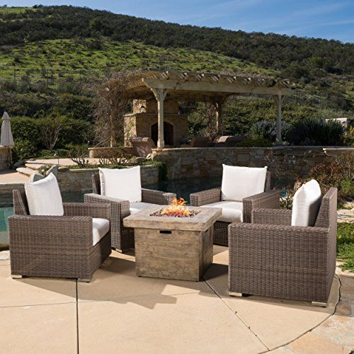 Barclay Brown 4 Pc Club Chair Set W/ Sunbrella Cushions U0026 Square Fire Pit