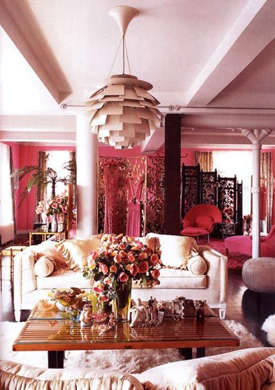 Betsey Johnson's style rox: Decor, Betsy Johnson, Dreams, Betseyjohnson, Interiors Design, Pink Living Rooms, Pink Wall, House, Betsey Johnson