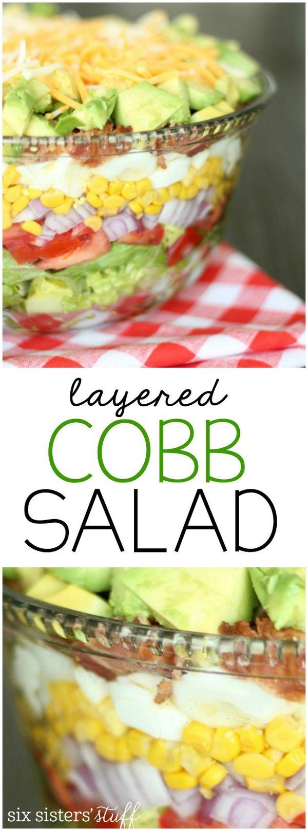 This delicious layered cobb salad is perfect for parties and barbecues! This makes enough to feed the whole family for dinner or as a potluck selection.