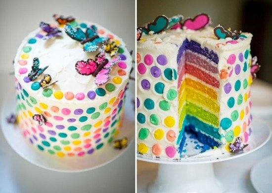 rainbows and butterflies cake