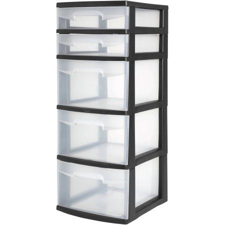 Sterilite 5 Drawer Tower- Black (Available in Case of 2 or Single Unit), Clear