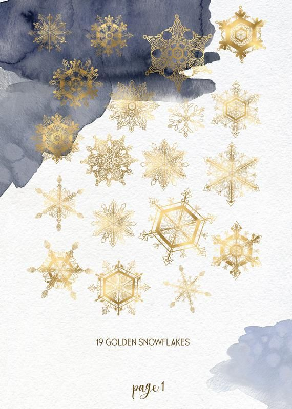 winter snowflake clipart  golden snowy christmas clip art  holiday watercolor splash decoration