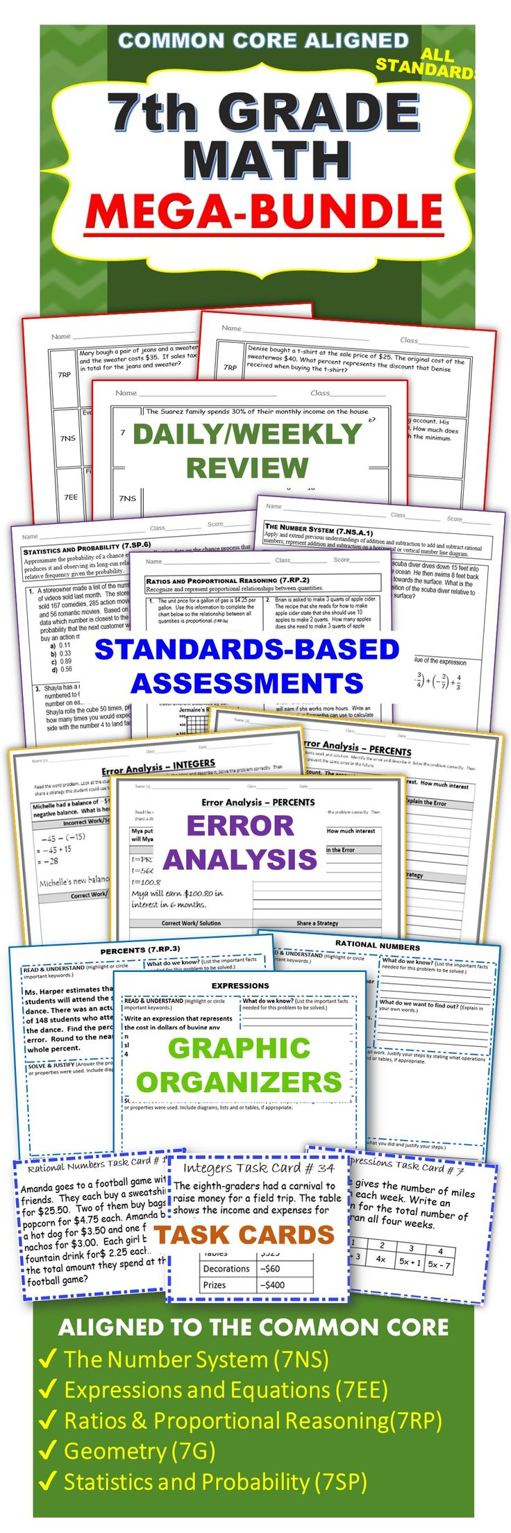 This 7th GRADE COMMON CORE MEGA-BUNDLE includes 25 of my top selling resources (over 265 pages of warm-ups, assessments, task cards, error analysis worksheets, problem solving worksheets and practice worksheets).As a current 7th grade math teacher, I am using the activities in this bundle for WARM UPS, HOMEWORK, math CENTERS, ASSESSMENTS, EXIT TICKETS and TEST PREP .: This 7th GRADE COMMON CORE MEGA-BUNDLE includes 25 of my top selling resources (over 265 pages of warm-ups, assessments, task cards, error analysis worksheets, problem solving worksheets and practice worksheets).As a current 7th grade math teacher, I am using the activities in this bundle for WARM UPS, HOMEWORK, math CENTERS, ASSESSMENTS, EXIT TICKETS and TEST PREP .