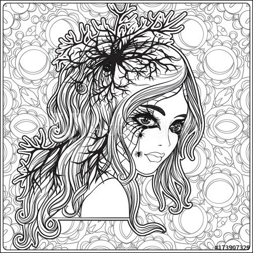 Portrait Of A Young Beautiful Girl In Halloween Or Day Of The Dead Coloring Page Adobe Skull Coloring Pages Halloween Coloring Pages Coloring Pages For Girls