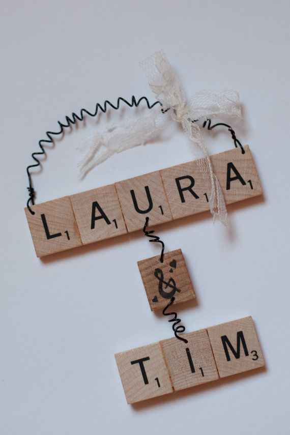 Christmas Ornaments  Couples Scrabble by TheCuckoosBoutique, $30.00