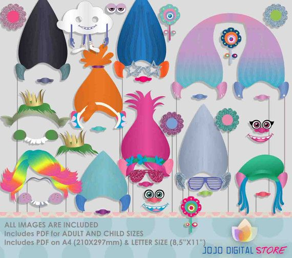 Troll dolls Photo Booth Props for colorful por JoJoDigitalStore
