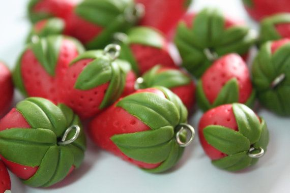Miniature Polymer Clay Foods Supplies Strawberry for Beaded Jewelry Charm, 4 pcs on Etsy, $4.90