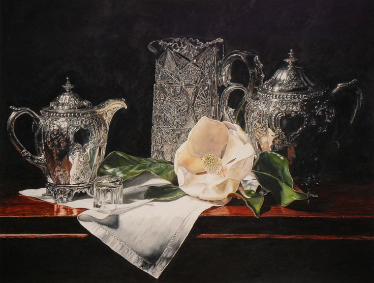 Laurin McCracken —  Crystal and Silver with Magnolia on Linen  (960x726)