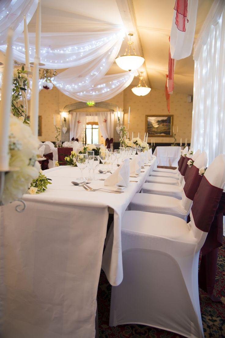 budget wedding venues north yorkshire%0A Top table at a wedding reception at the Horseshoe Inn