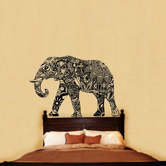 Indian Elephant Wall Decals Floral Pattern Wall by BestDecals