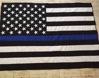 Thin Blue Line American Flag Quilt Police Officer by ZabesQuilts