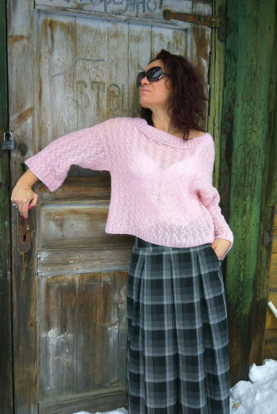READY Light pink sweater Loose Mohair sweater от JuliasFineKnits