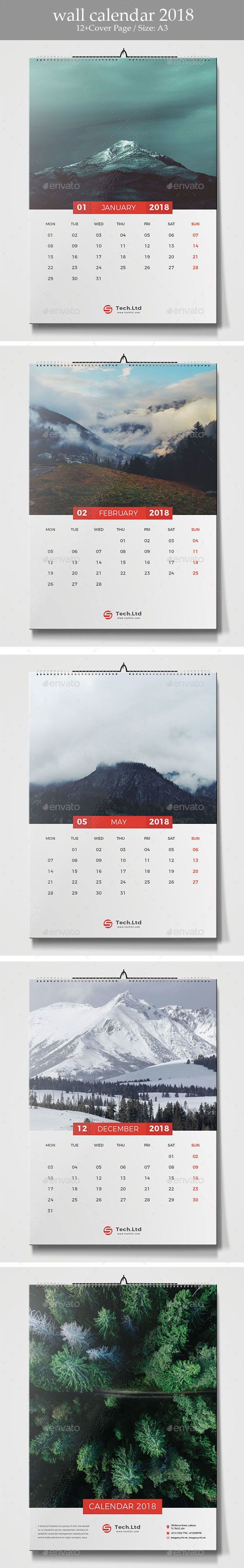 Wall Calendar 2018 Template Vector EPS, AI Illustrator - 12 Pages