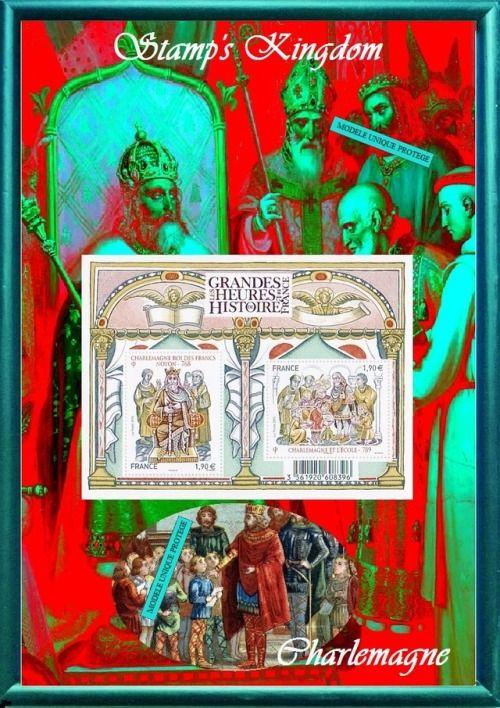 Charlemagne, histoire de france Timbre-poste sur un montage photo #JFBstamp #charlemagne #barbefleurie #histoire #timbreposte #montagephoto #philatélie #couronnementroi #cadeaudeNoël #madeinFrance #pièceunique #inventionécole