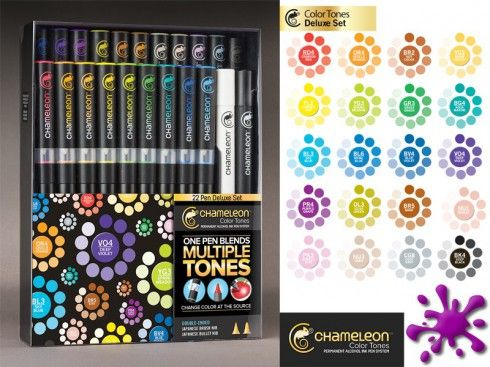 Die Chameleon Marker sind Stifte auf Alkoholbasis die durch einen, im Stift integrierten Blender, die Farbe verändern können. Man braucht also nur einen Stift und kann damit 10 verschiedene Farbtöne kreieren.  Verblüffende Effekte wie 3D, weiche Farbverläufe, Hervorhebungen, Schattierungen, Abstufungen und Schraffierungen gehen Ihnen damit ganz leicht von der Hand. Der Kreativität sind somit keine Grenzen mehr gesetzt.  Die 20 lebendigen Farben produzieren über 100 Farbtöne, so dass Sie…
