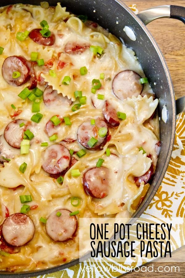 Savory smoked sausage, creamy melted cheese, fragrant garlic, onions and tomatoes…all come together in a one skillet meal that is sure to please every