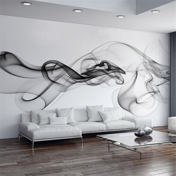 Smoke Fog Photo Wallpaper Modern Wall Mural 3D view wallpaper Designer Art Black…