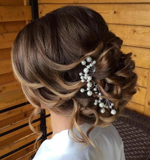 loose+curly+updo+for+wedding