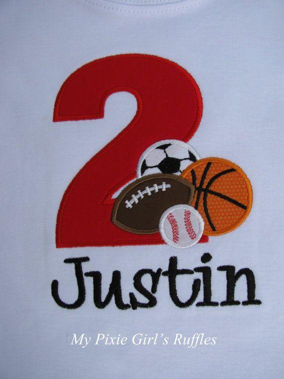 Monogrammed Sports Themed Birthday TShirt by MyPixieGirlsRuffles, $22.00