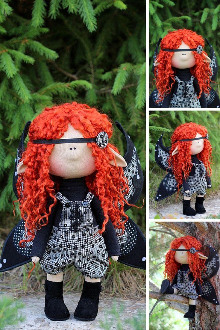Angel doll, angel boy doll, angel handmade, black angel, black doll, textile doll handmade