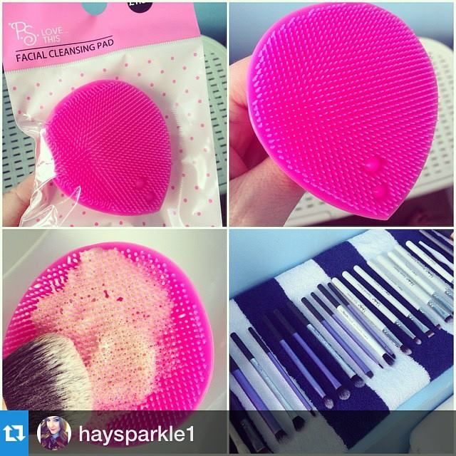 Just deep cleaned some of her makeup brushes using this Facial Cleansing Pad she got in Primark :) repost from @haysparkle1 ・