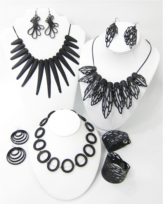 Bicycle innertube necklaces & earrings from Otra