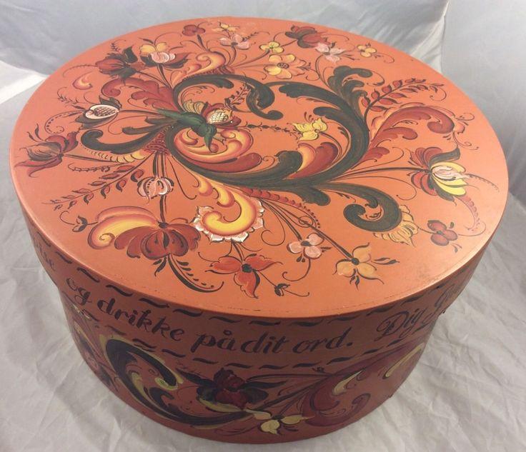Norwegian Norway Telemark Rosemaling Painted Bread Box Folk Art Table Blessing | eBay