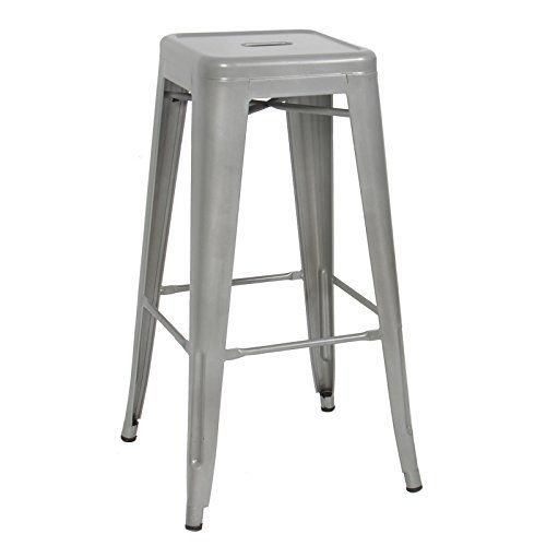 Caraya Modern Industrial Backless Metal Bar Stools Silver 30 Inch