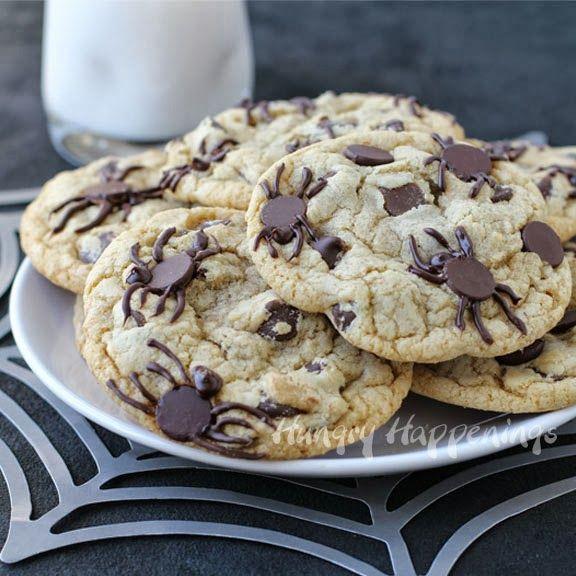 Creepy Halloween Dessert - Spider Infested Chocolate Chip Cookies