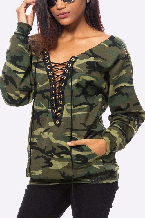 Camouflage Pattern Lace-up Design Sweatshirt