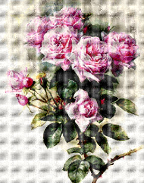 Roses and Bumblebees - Counted Cross Stitch KIT