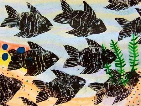 Styrofoam fish prints - pattern, movement, repetition, background watercolor
