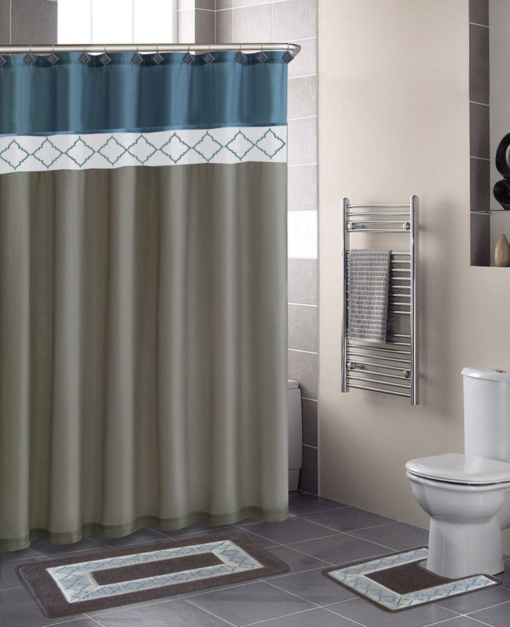 Beige Blue Modern Shower Curtain 15 Pcs Bath Rug Mat Contour Hooks Bathroom  Set
