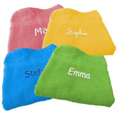 Handdoek borduren (verschillende kleuren) (50 cm x 100 cm). Te bestellen bij PrachtigKado.nl