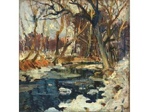 "Thomas P. Barnett (American, 1870–1929) - ""Winter stream"" - 1925 - oil on panel - 14 x 14 in. (35.6 x 35.6 cm.) - #american #art #artist #winter #stream #thomas #barnett #impressionist #impressionism #trees #landscape #water #snow"