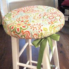 DIY stool cover- cute in a kitchen or classroom! <-- GREAT idea for making and changing out diff stool covers