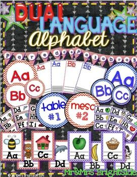 Dual Language Alphabet pack has everything you need to set up your dual language word walls and student generated alphabets. The dual language word wall letters and alphabets contain pictures (with/without) are color-coded in blue (English) and red (Spanish).
