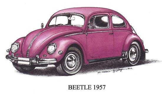 Pink Volkswagen Beetle 1957 $3