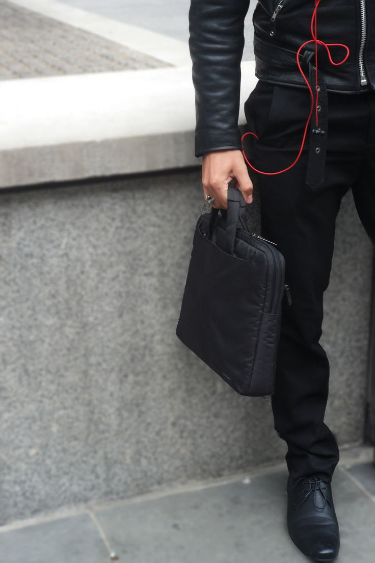 Bag it up, work style #bag #black #red #headphones #shoes #menswear #fashion #london #covent