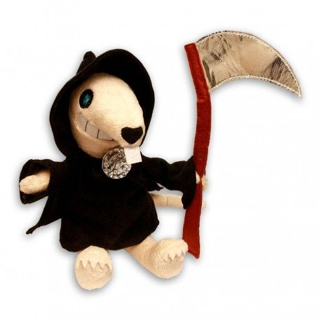 Add a little 'SQUEAK' to your shelves with an official plush Death of Rats from Terry Pratchett's Discworld, complete with tiny scythe & omega cloak pin!