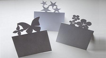 Bellas tarjetas de mesa caladas